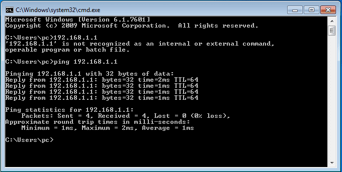 Successful Ping 192.168.1.1