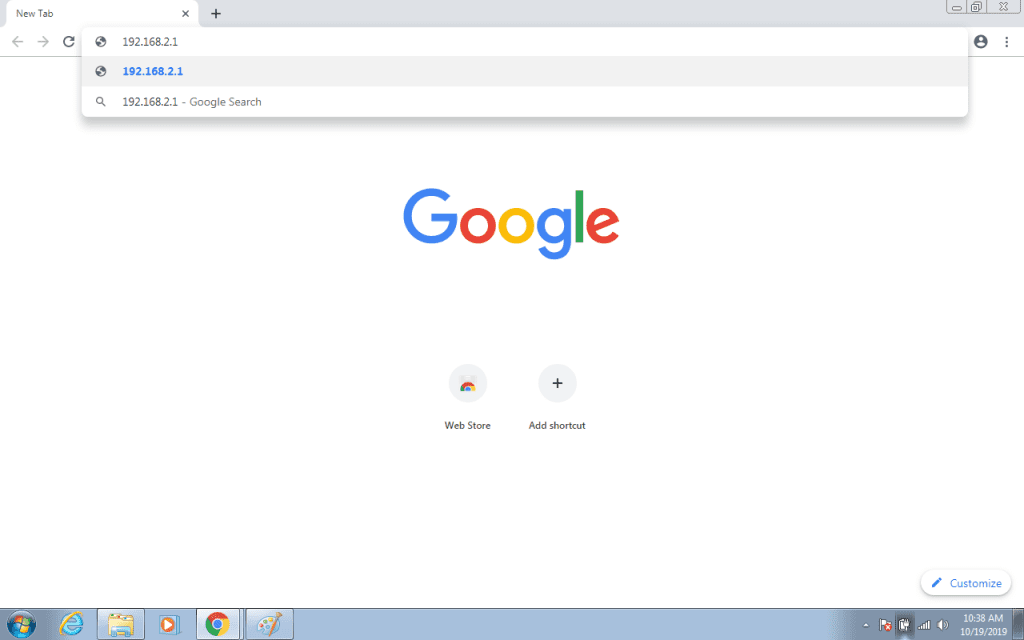 192.168.2.1 in Browser